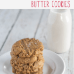 Pinnable image for Flourless, Keto Peanut Butter Cookies with text