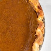 close up of crust of pumpkin pie