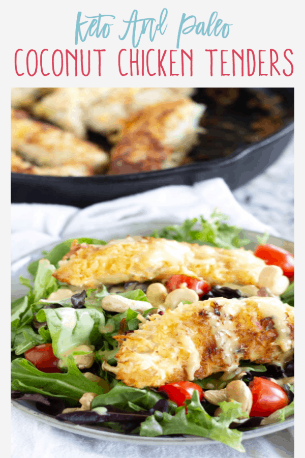 Pinnable image of Keto Coconut Chicken Salad with text