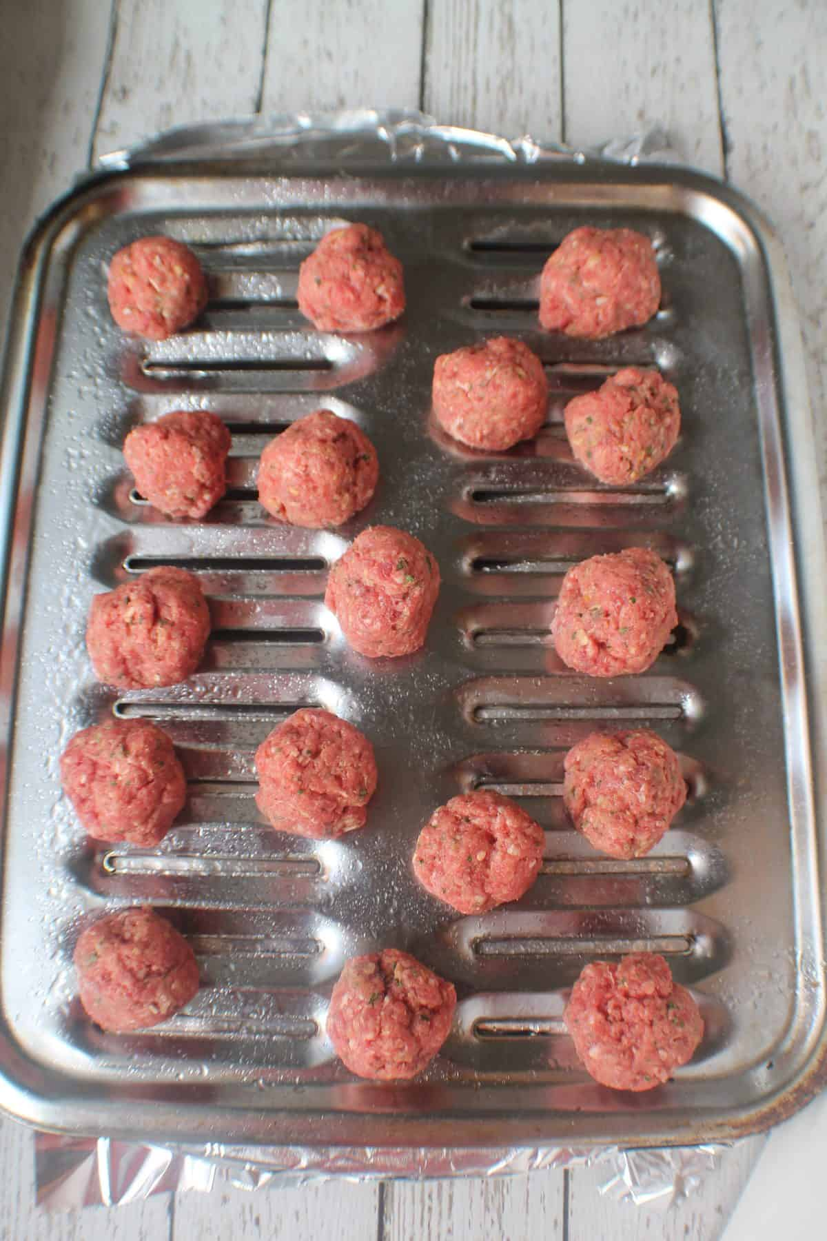 Meatballs on broiler pan