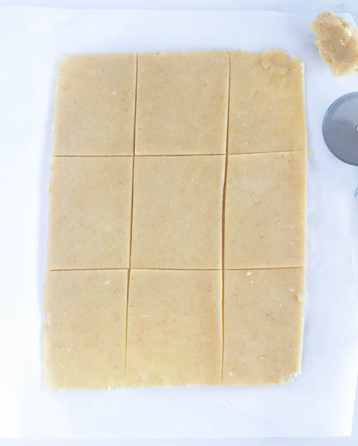 dough rolled out and cut into 9 rectangles