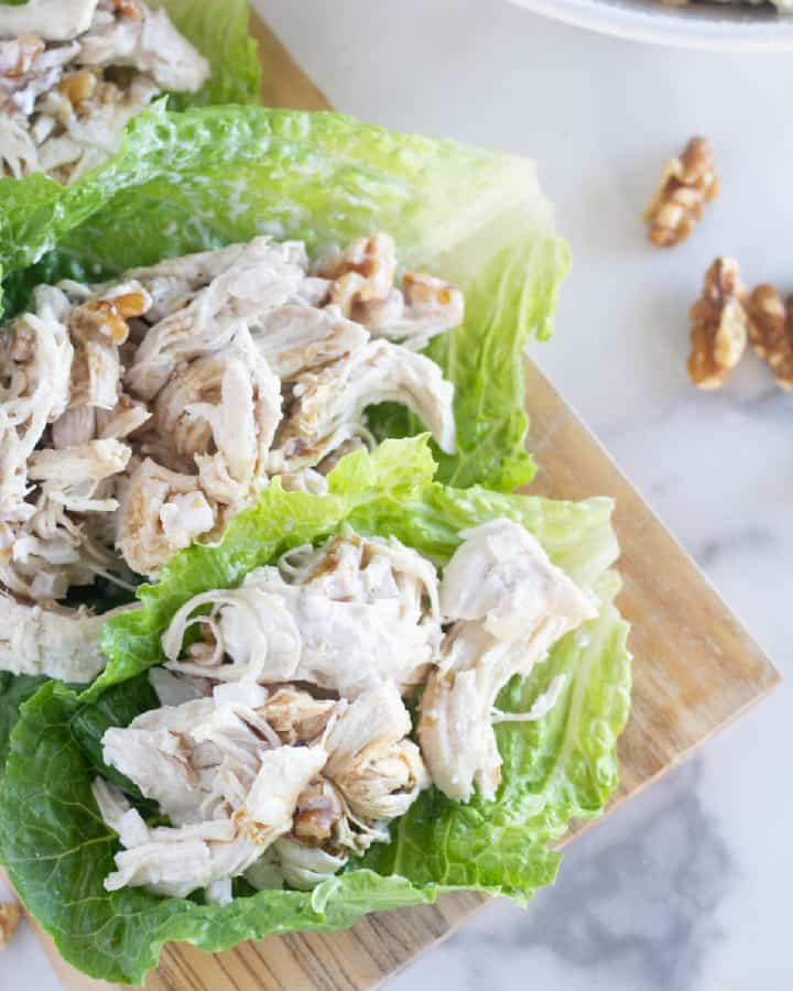 keto chicken salad in lettuce wraps