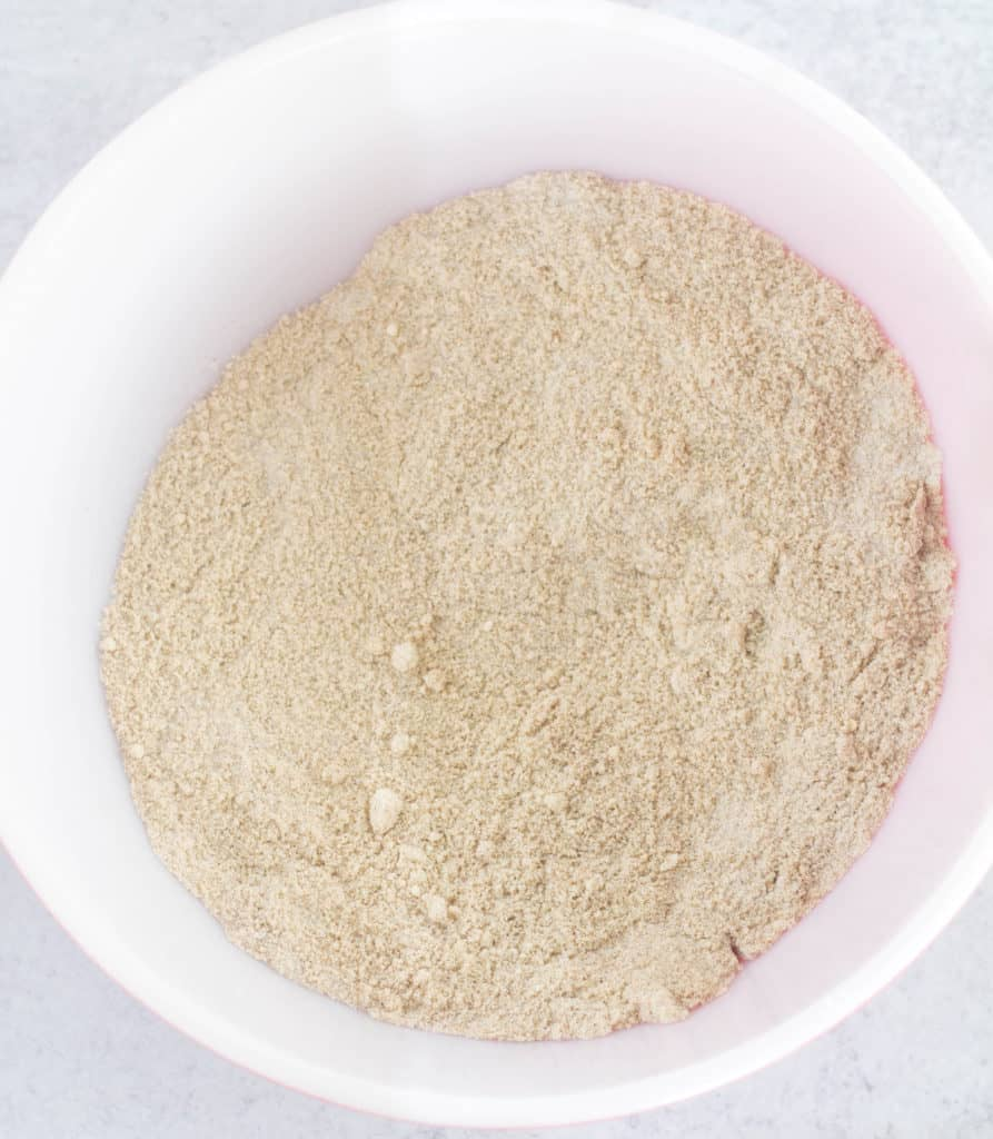 Dry ingredients in white mixing bowl