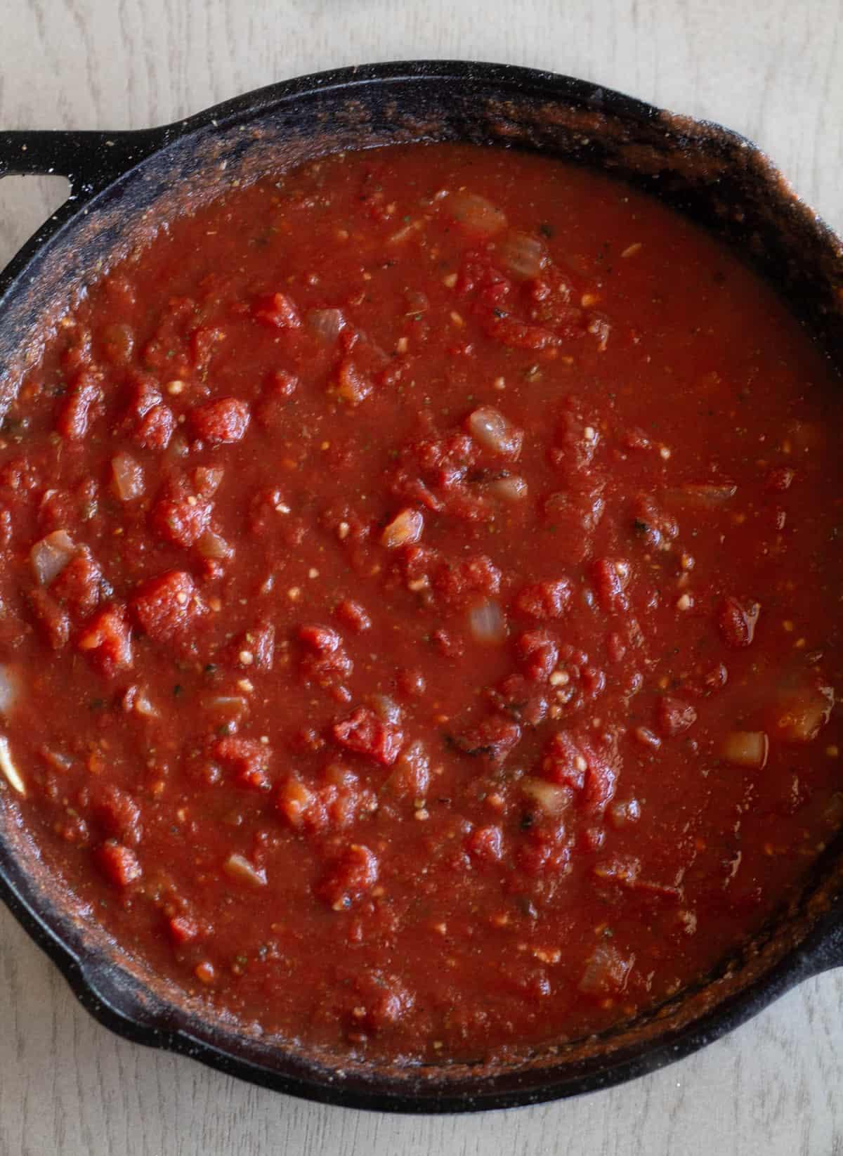 Chicken parm sauce in skillet