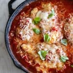 Overhead shot of keto chicken parmesan in skillet