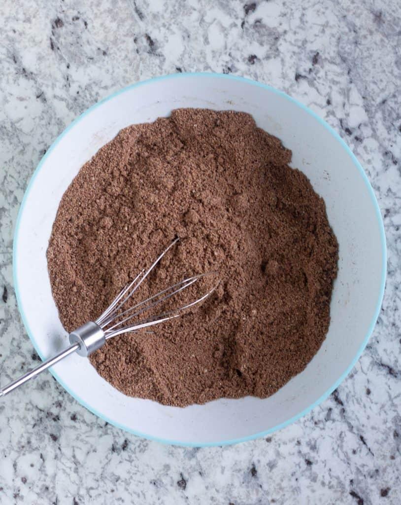 dry ingredients in white mixing bowl