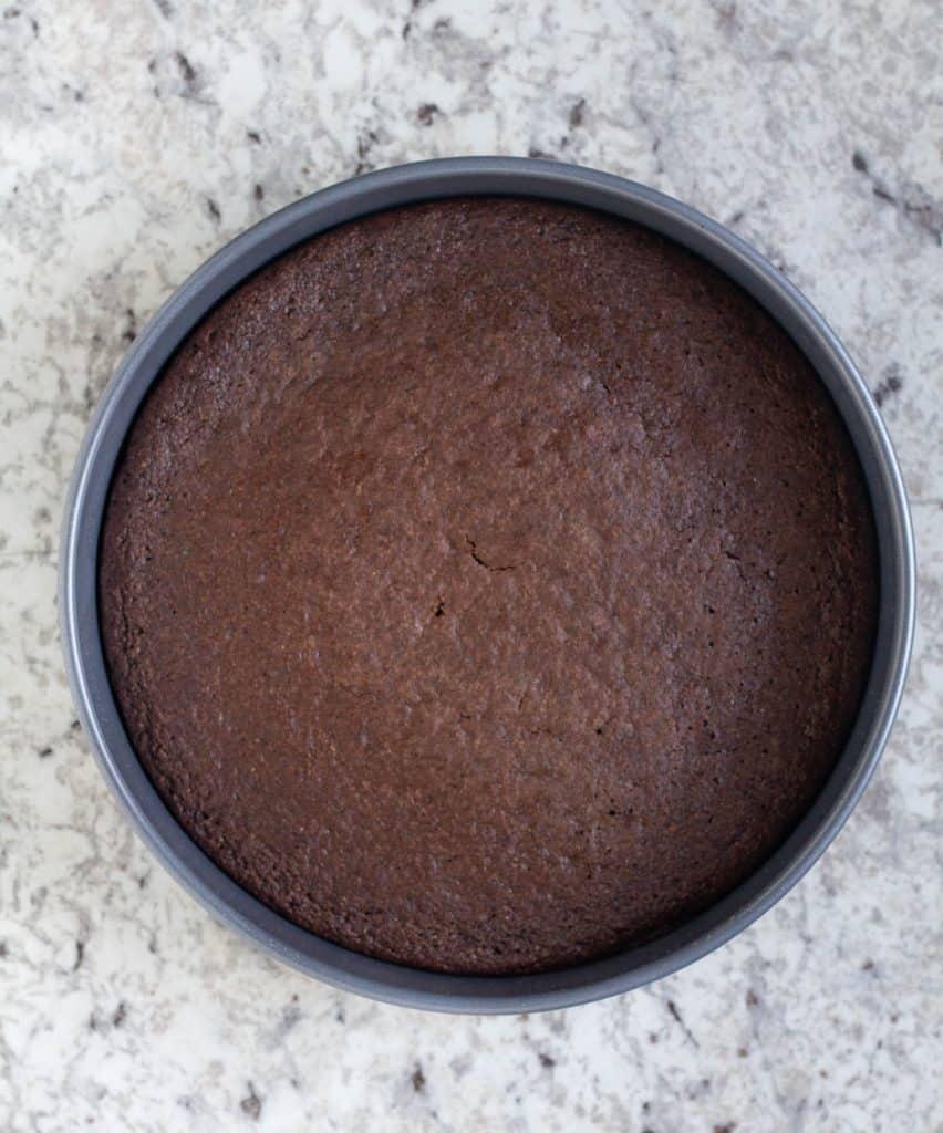 baked keto chocolate cake in cake pan