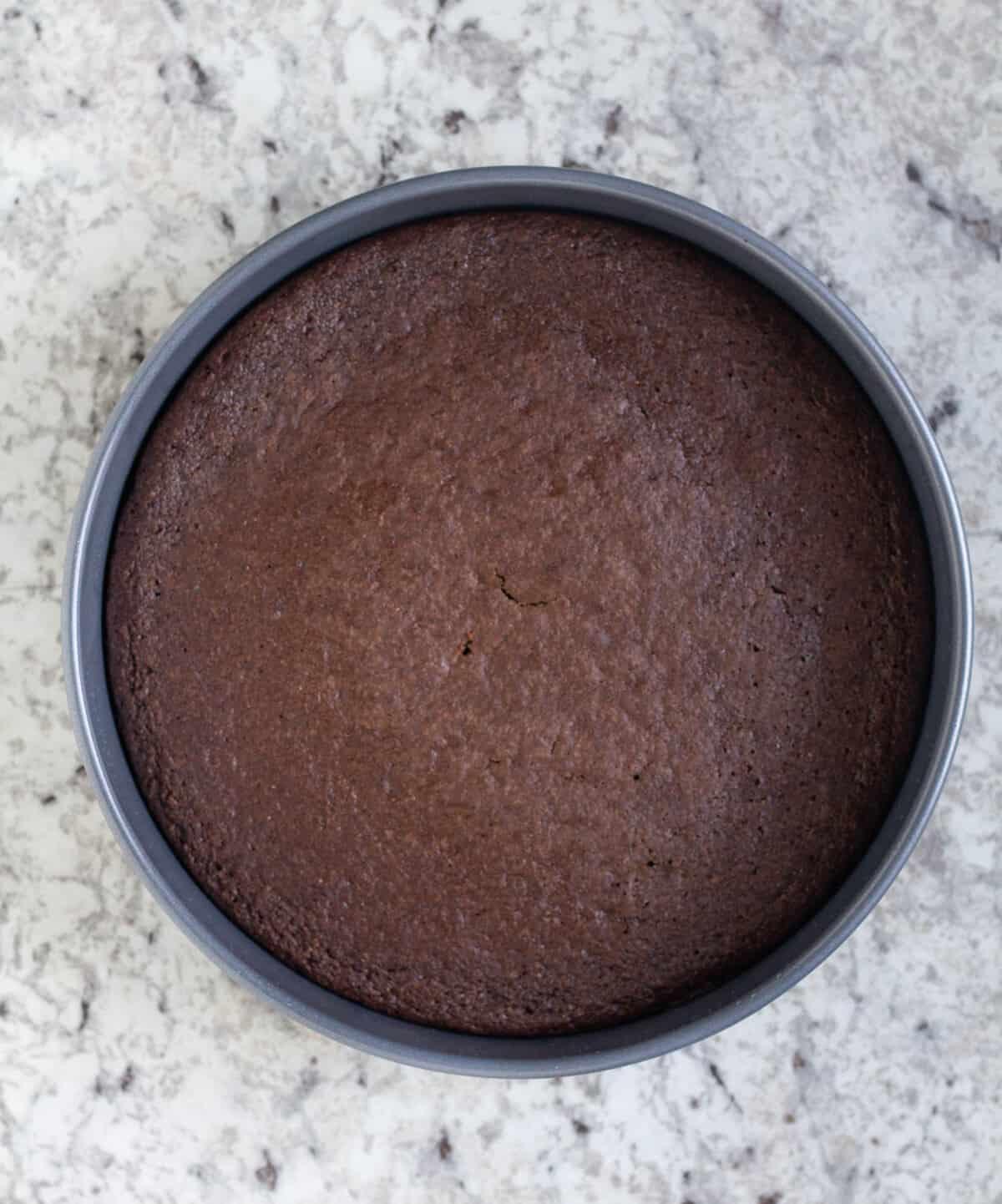 baked cake in cake pan