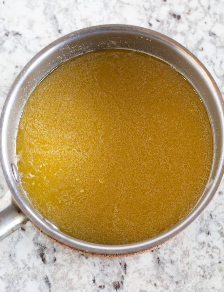 melted butter in saucepan
