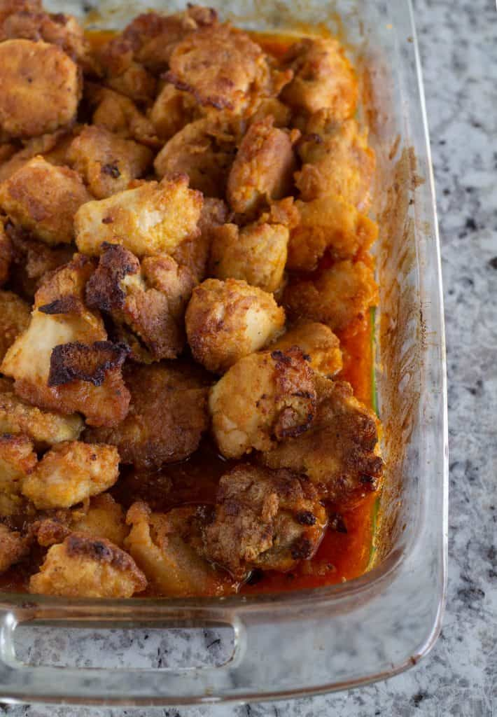 Baked Keto sweet and sour chicken in large baking dish