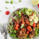 pinnable image of whole30 shredded beef taco salad with text