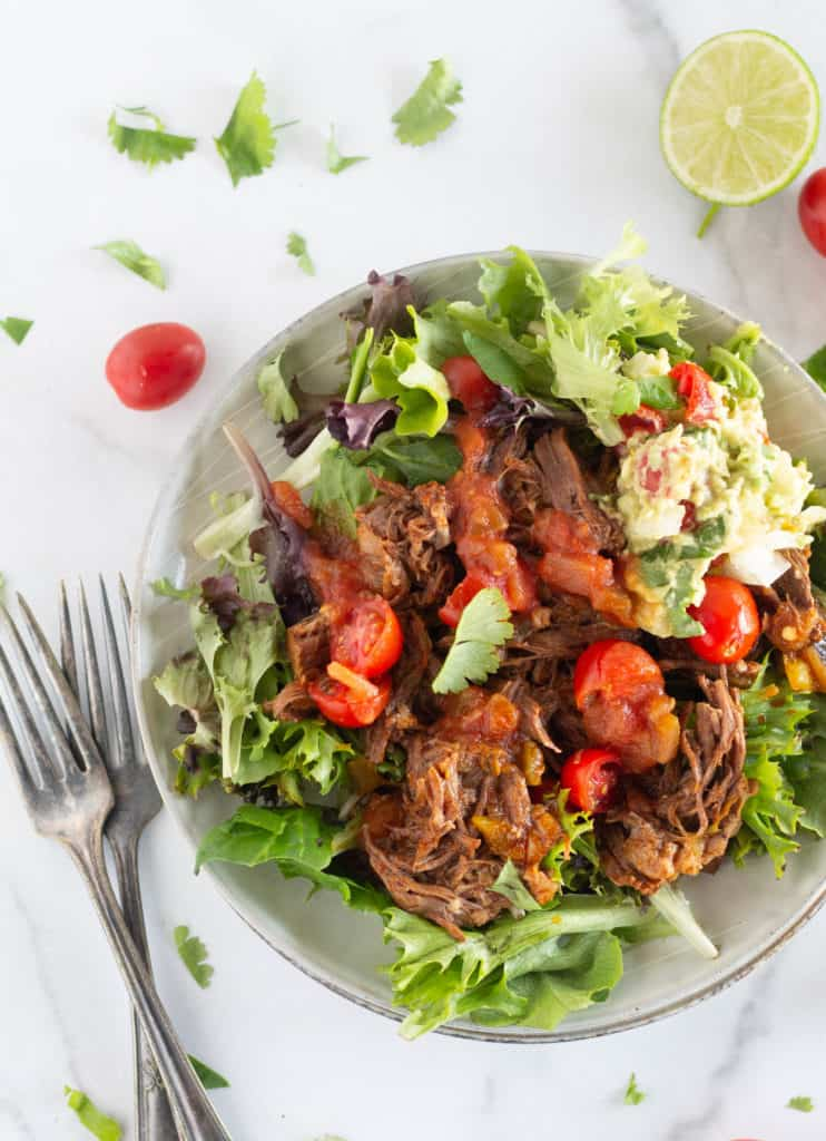 shredded beef on top of lettuce with garnishes