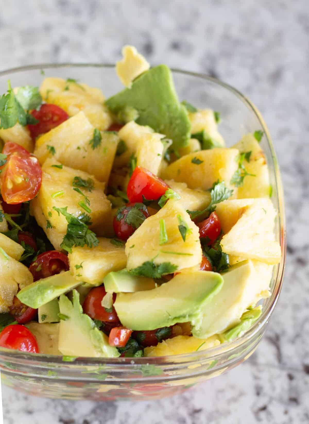 pineapple salsa in clear bowl