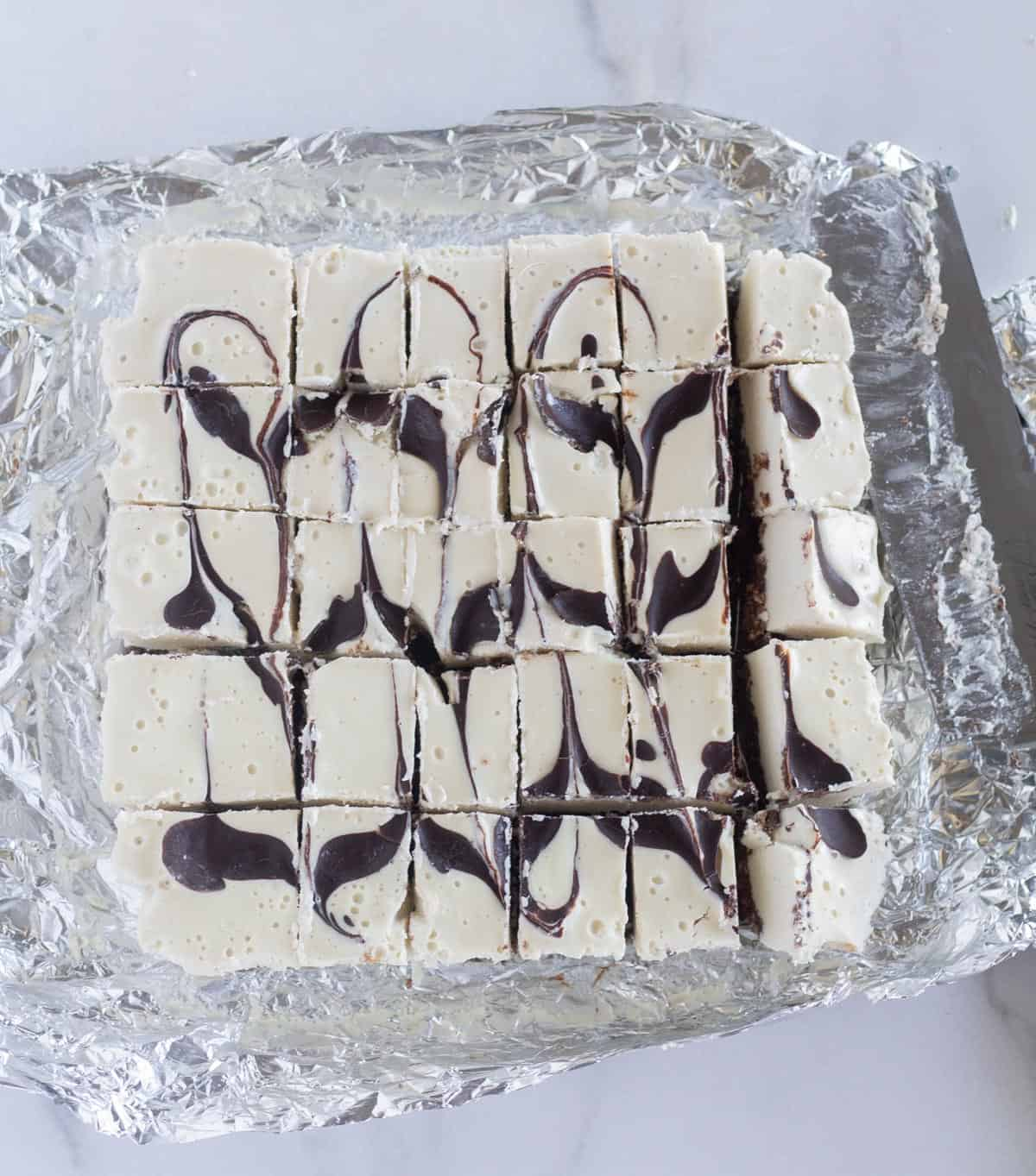 cheesecake cut into bite-sized squares