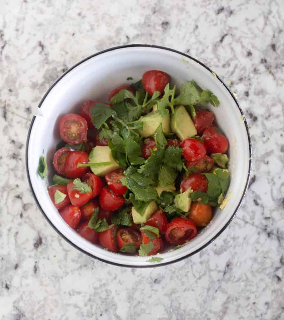 tomato avocado salsa in small bowl