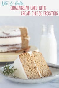 pinnable image of keto gingerbread cake with text