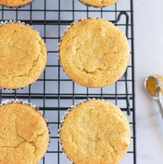 paleo cornbread muffins on cooling rack