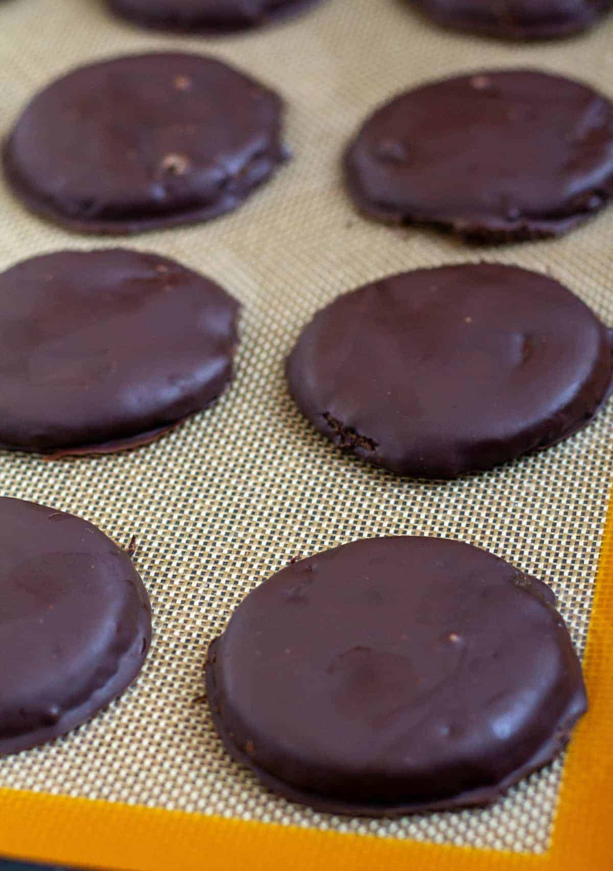 thin mints on silpat lined baking sheet