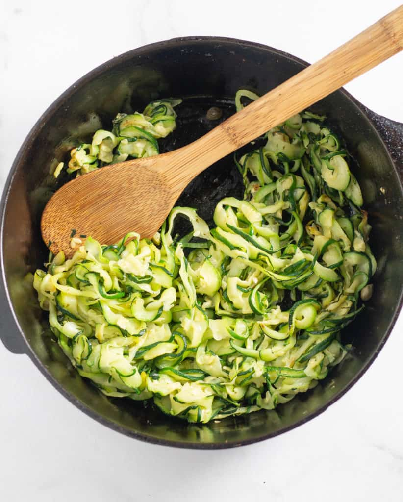 zucchini noodles in cast iron skillet