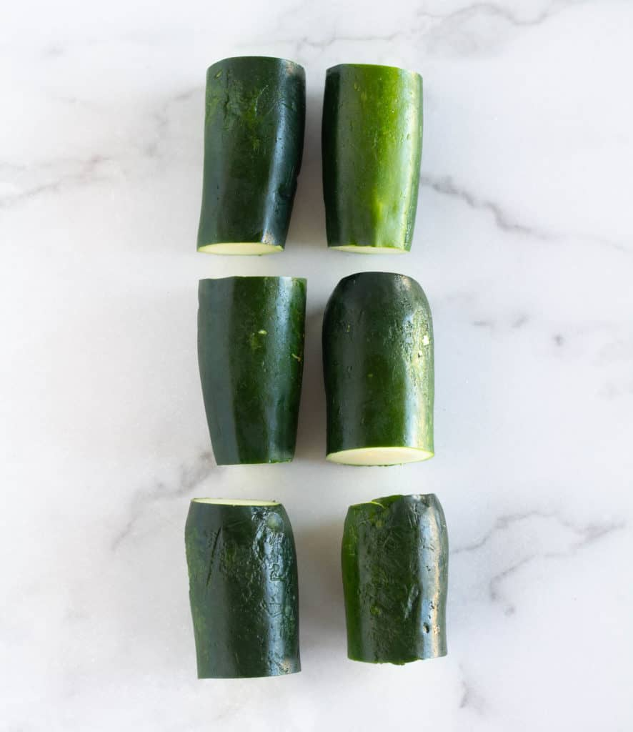 3 zucchini with ends cut off and cut in half