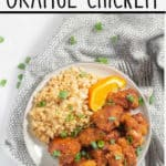 pinnable image of keto orange chicken with text