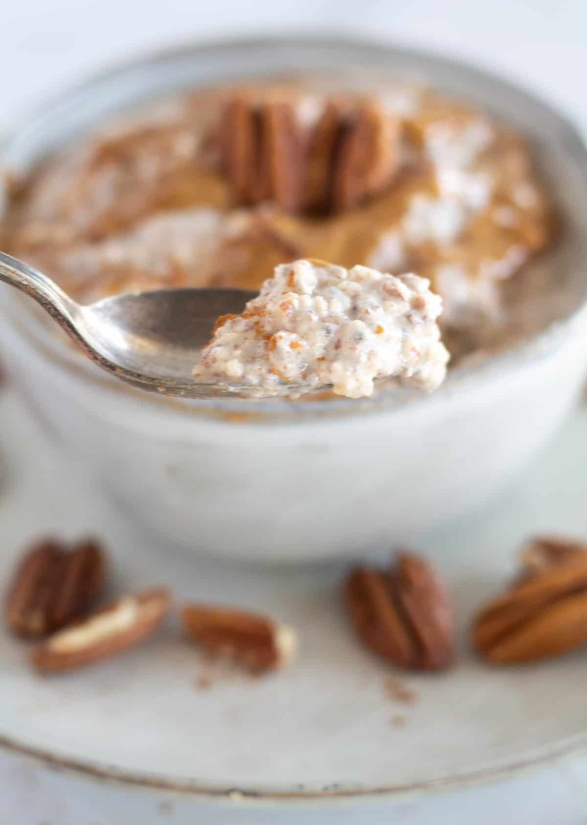 close up of oatmeal on spoon