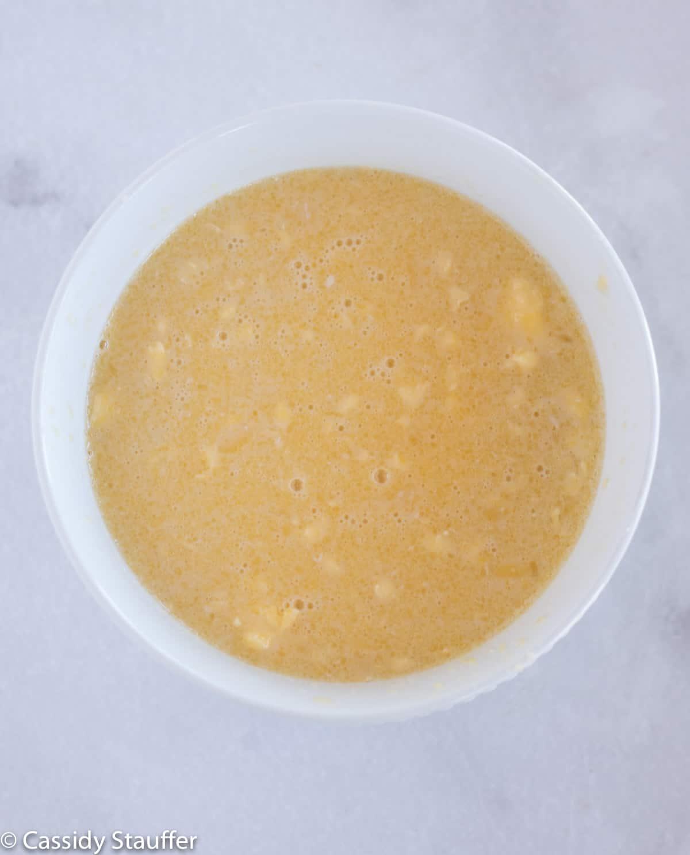 wet ingredients in white bowl