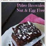 Pinnable image of paleo, nut, and egg free brownies with text
