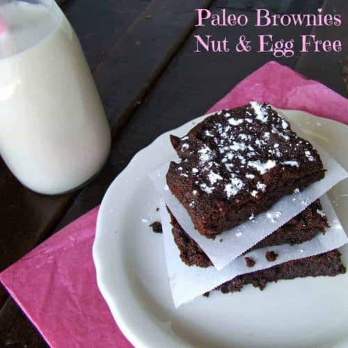 paleo, nut, and egg free brownies stacked on white plate with parchment between each brownie