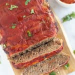 overhead shot of keto meatloaf on cutting board