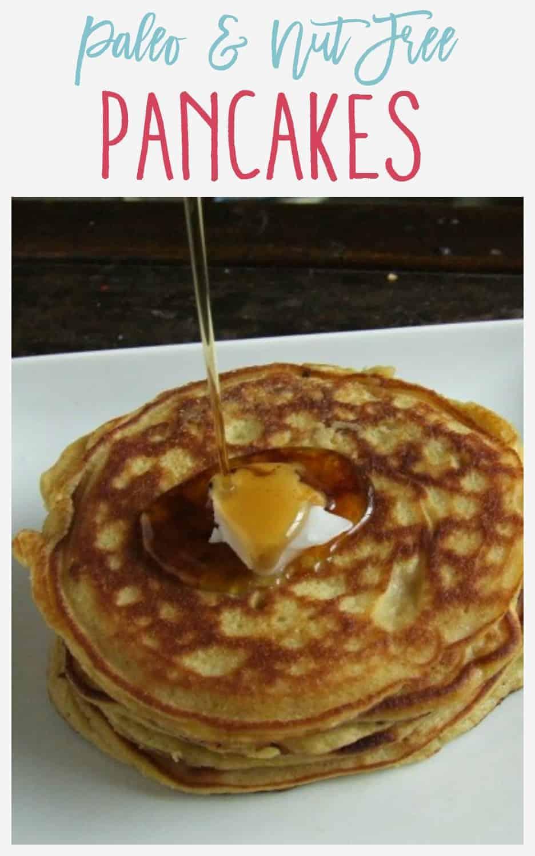 Paleo & Nut Free Pancakes - Pinnable Image