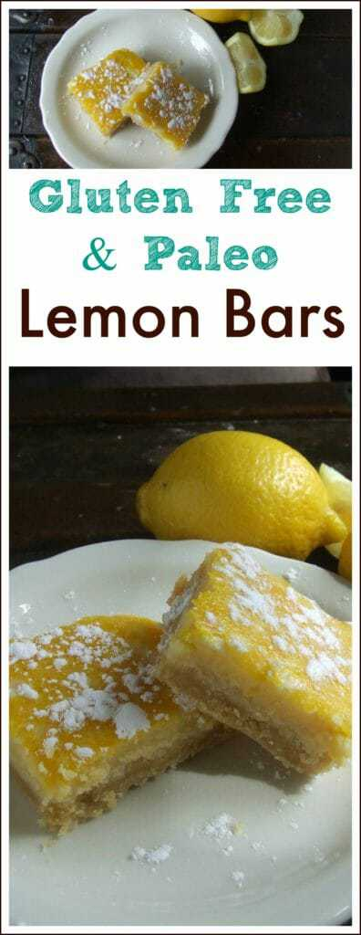 These Paleo Lemon Bars have a soft but sturdy shortbread-like crust and the filling is super creamy with the perfect combination of sweet and tart.  #Paleo #GlutenFree #PaleoLemonBars #GlutenFreeLemonBars #Summer #Lemon #LemonDessert