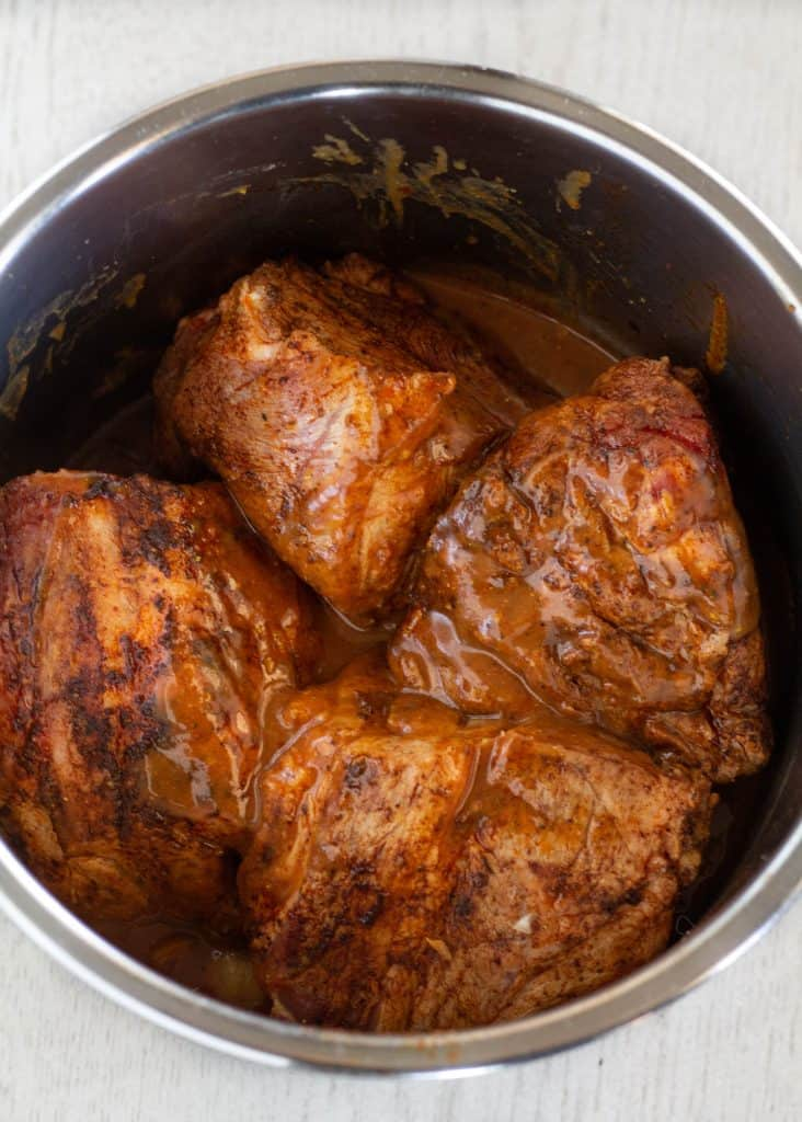 pork roast and sauce in instant pot