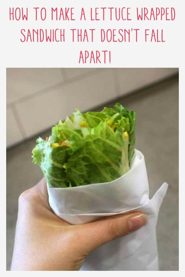 Pinnable image for lettuce wrapped sandwich
