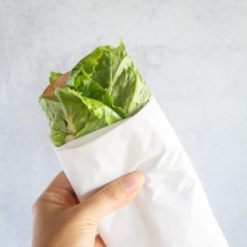 square image of lettuce wrap