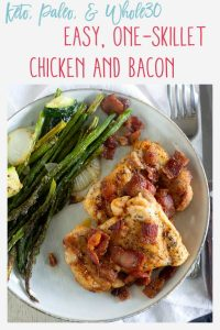 Pinnable image of keto chicken and bacon with text