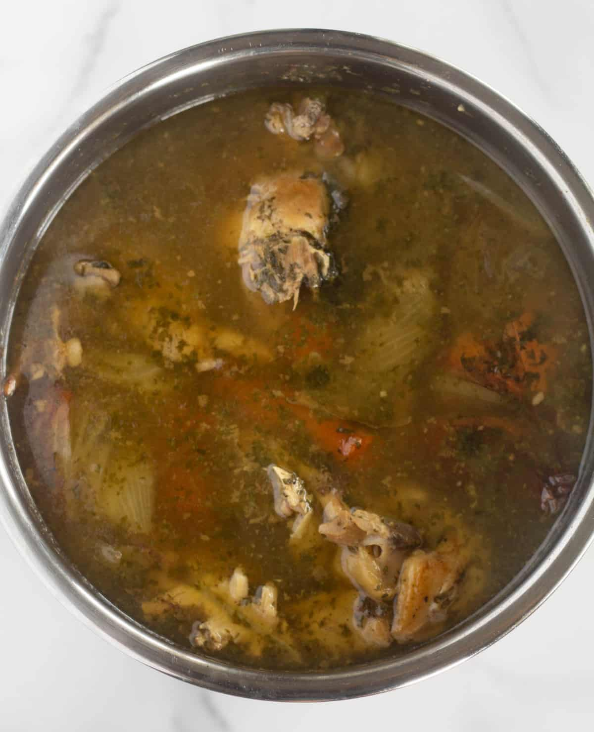 Cooked bone broth in instant pot before straining