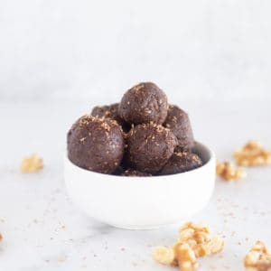 keto brownie bites in white bowl