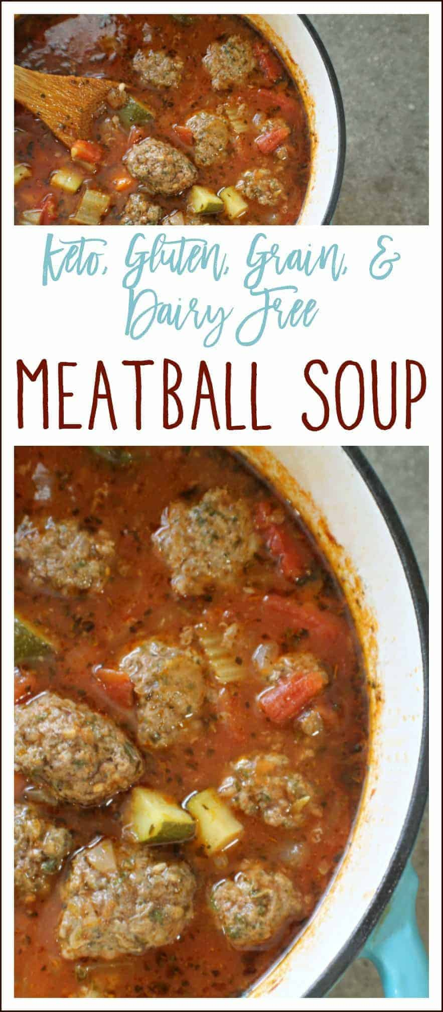This meatball soup is easy to prepare, hearty, and loaded with fresh veggies and flavor. Best of all, the meatballs can be made ahead of time and it freezes nicely.  #Keto #KetoDinner #MeatballSoup #Whole30 #LowCarb #PaleoMeatballSoup #PaleoDinner #MealPrep #Keto #KetoFreezerDinner #KetoMeatballSoup