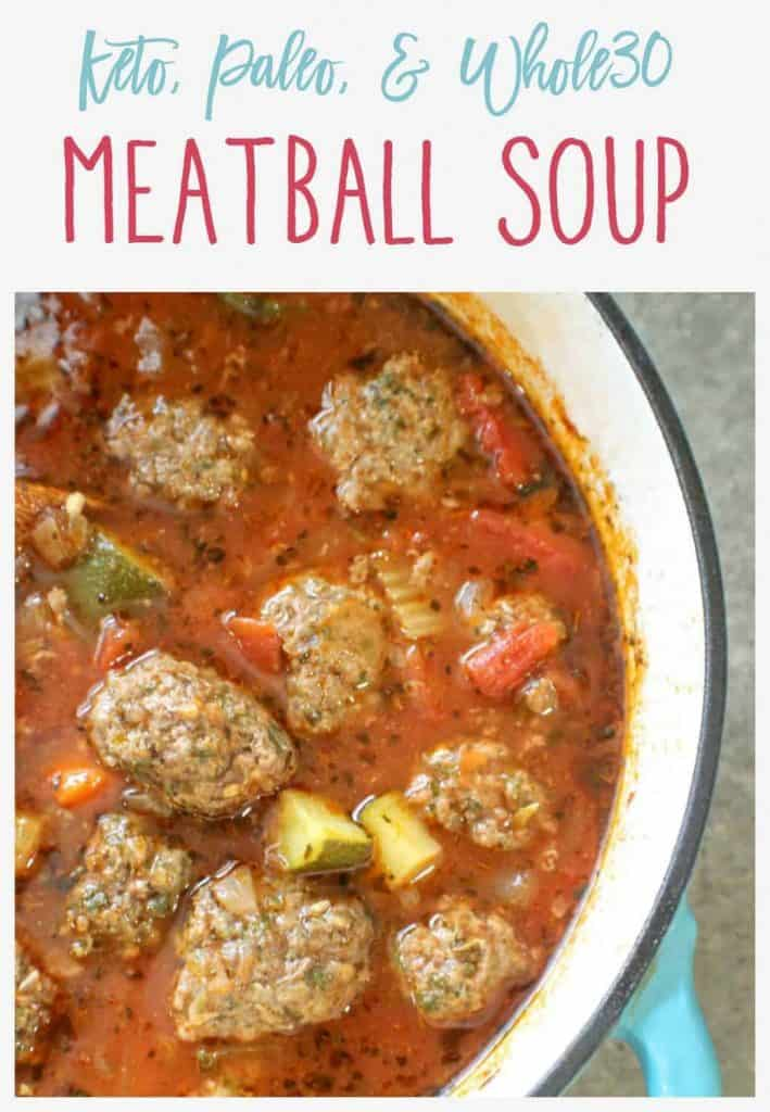 Pinnable image of meatball soup