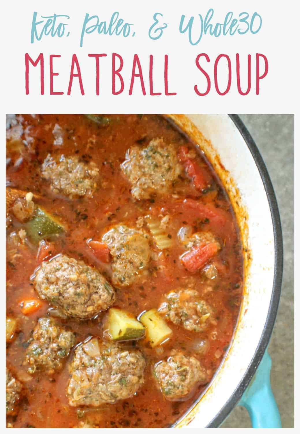 Keto Meatball Soup Pinnable Image