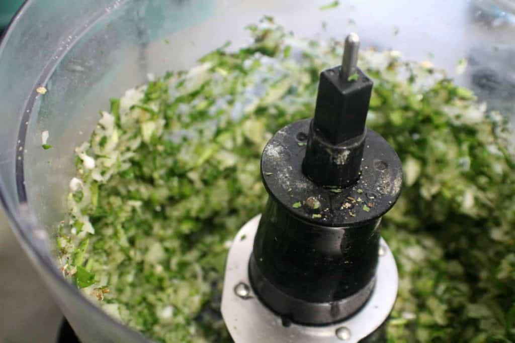mixing ingredients in food procesor