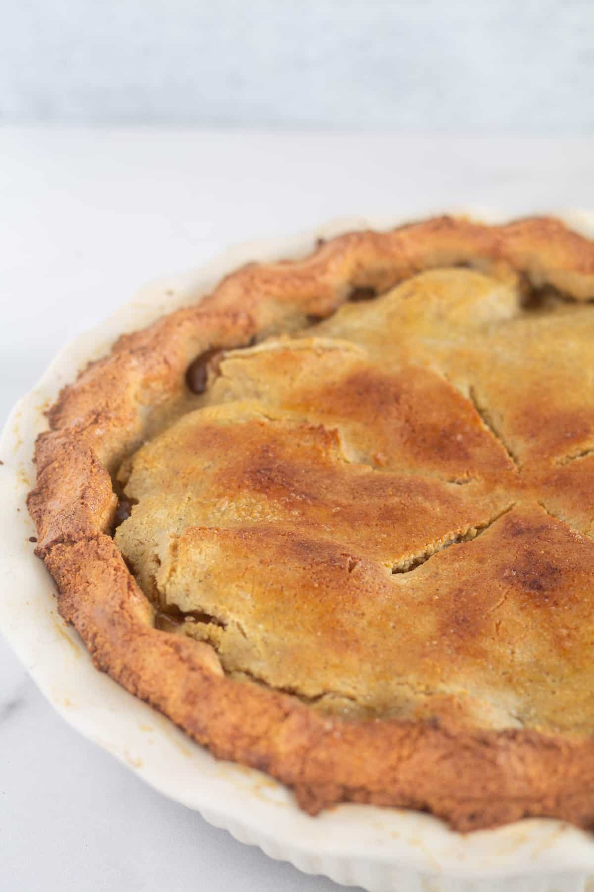 close up of baked low-carb and paleo apple pie