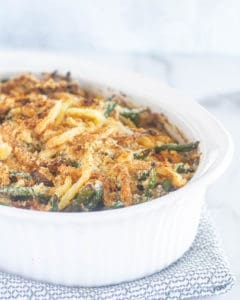 keto green bean casserole in white baking dish