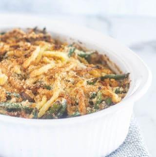 keto green bean casserole in white baking dish