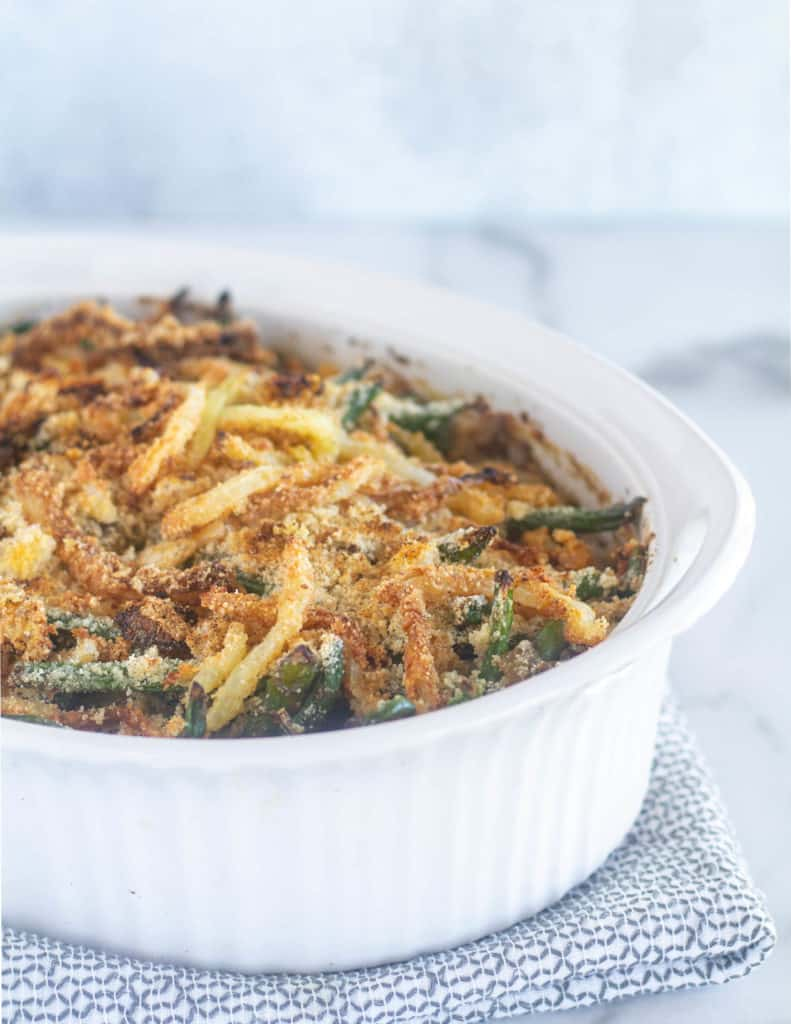 keto green bean casserole in white dish