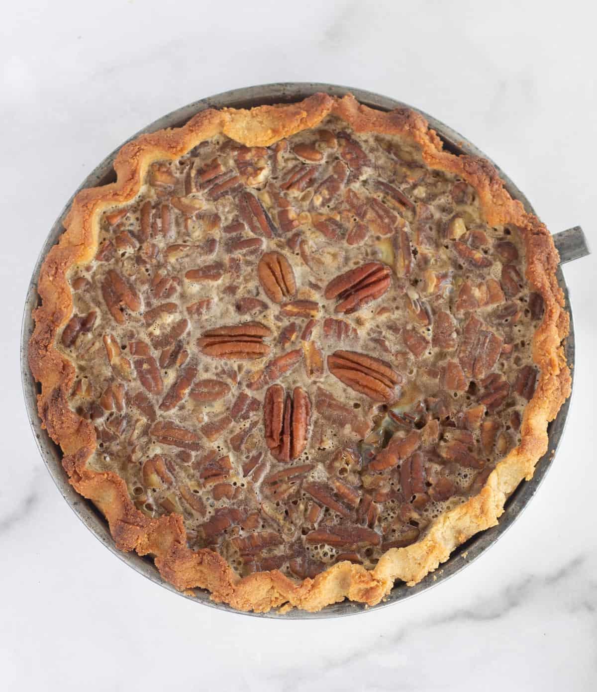 overhead shot of baked pecan pie