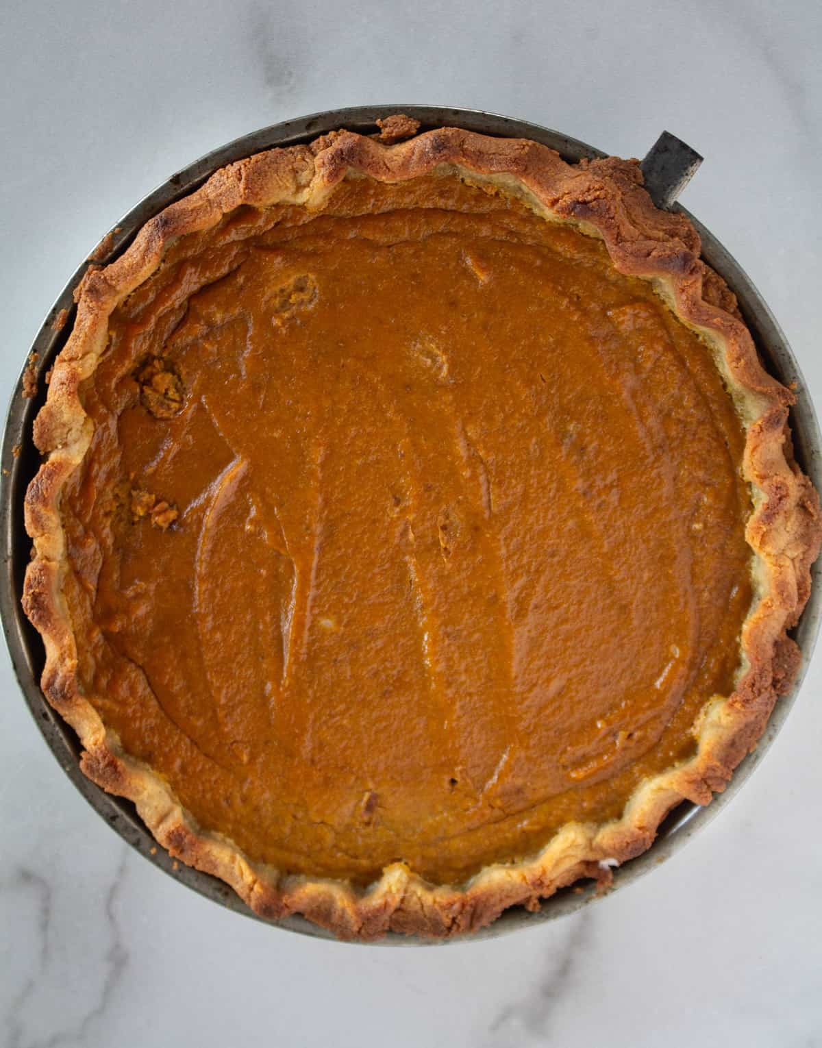 overhead shot of baked paleo and keto pumpkin pie