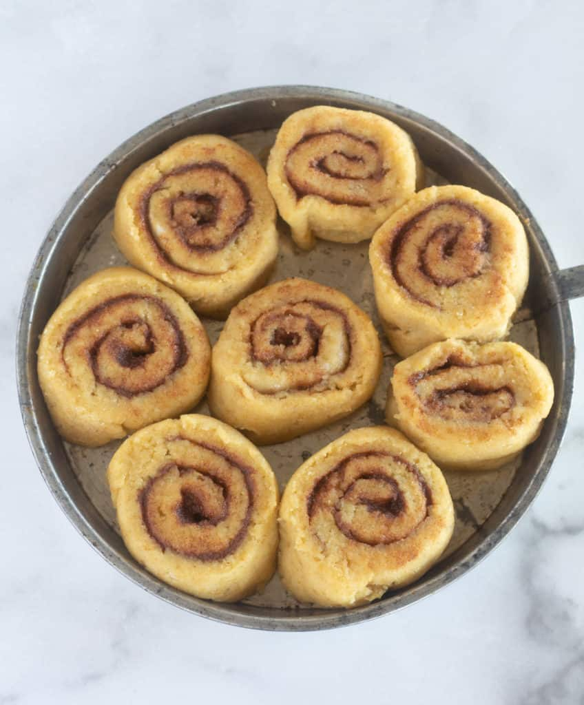 unbaked, keto cinnamon rolls after rising 1 hour
