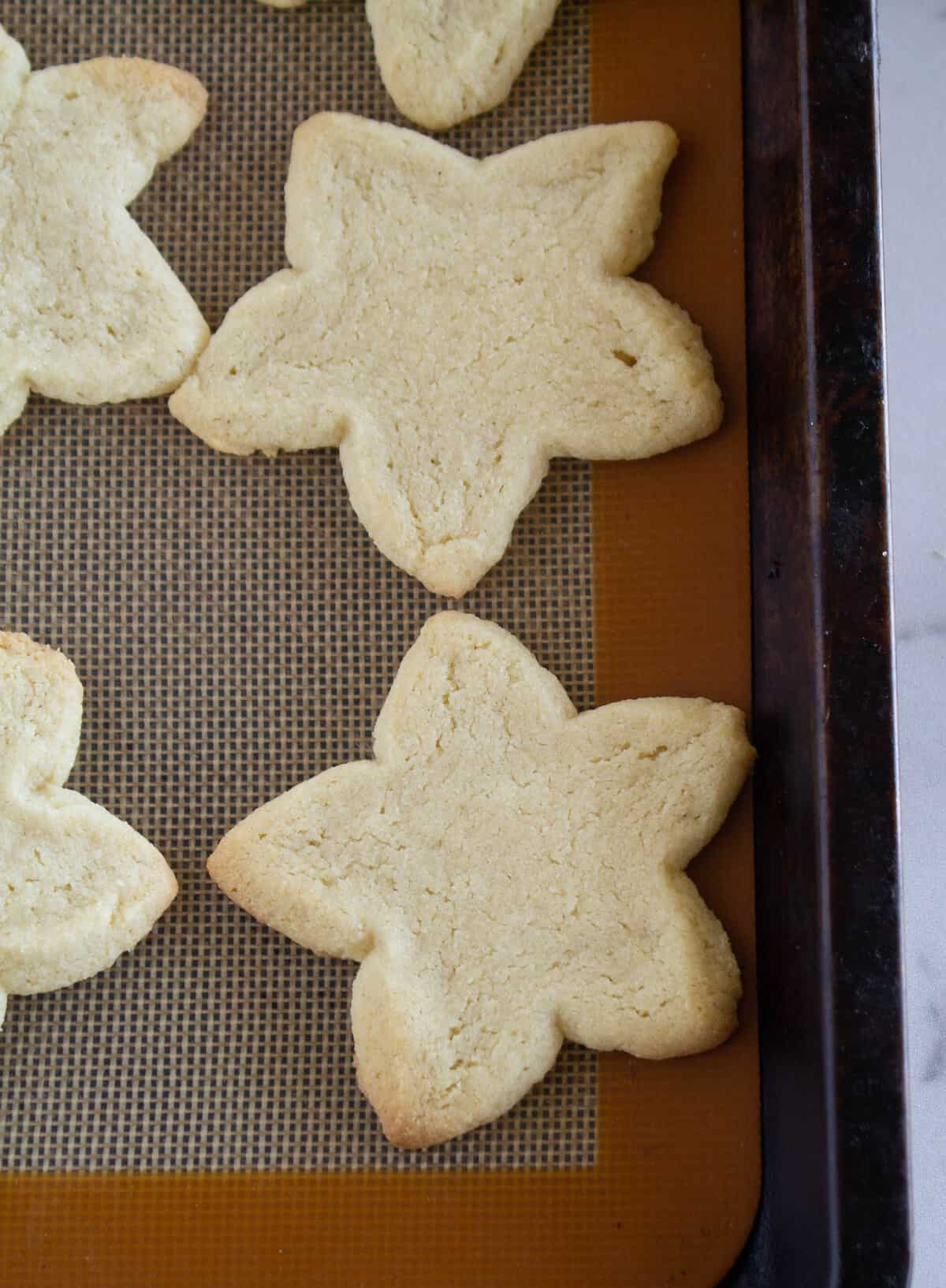 star shaped cookies on baking sheet